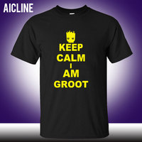 Keep Calm I AM GROOT T Shirts Men Guardians Of The Galaxy T Shirt Men Short