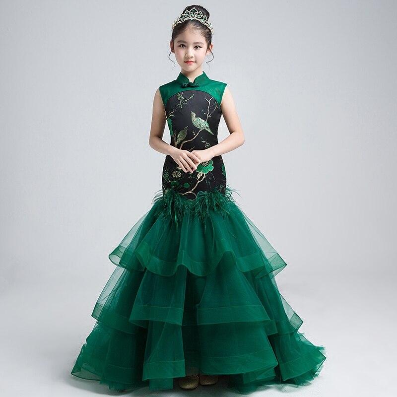 Китайский Стиль для маленьких девочек одежда для свадьбы платье с русалочкой с Trail вышитое платье для девочек платья на заказ Подиум костюм