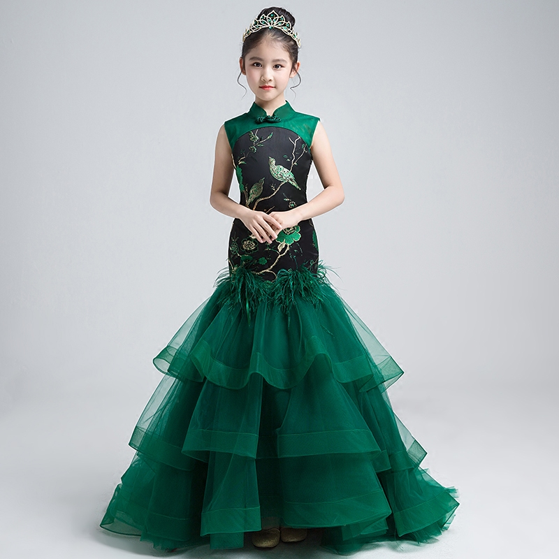 Chinese Style Children Girls Wedding Clothing Mermaid Dress With Trail Emboridery Girl Gowns Custom-made Catwalk Costume S257Chinese Style Children Girls Wedding Clothing Mermaid Dress With Trail Emboridery Girl Gowns Custom-made Catwalk Costume S257