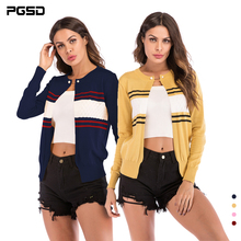PGSD New Autumn Pure color fashion Women clothes Coloring stripe Long sleeve O collar short Knitted sweater cardigan female недорого
