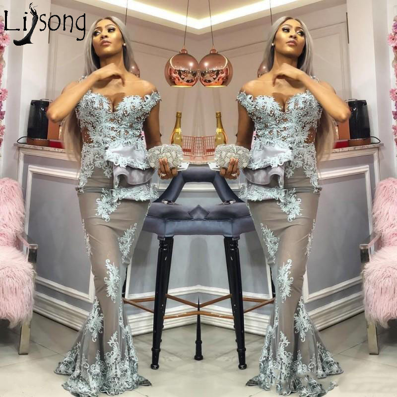 Sexy Aso Ebi Mermaid   Prom     Dresses   Fashion Off Shoulder Beaded Lace Appliques Long Party Gowns Plus Size Celebrity Evening   Dress