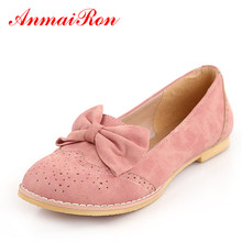 ANMAIRON Neue Nette Bogen Wohnungen Schuhe Frauen Mode Frauen Casual Damen schuhe größe 43 rosa blau beige ballettschuhe frau mädchen schuhe