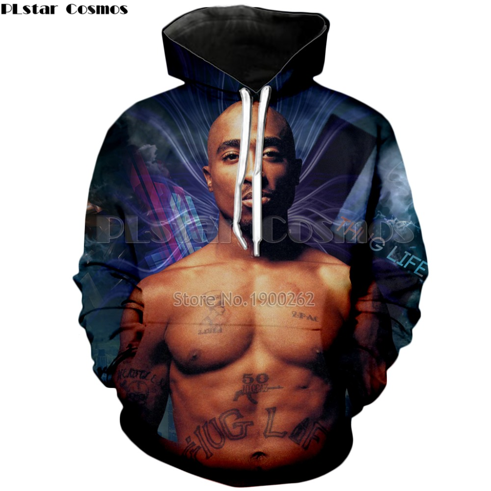 PLstar Cosmostupac Zip-Up Hoodie 2Pac Tupac Amaru Shakur Makaveli Sweats 3d Character Zipper Sweatshirts Women Men Tops Jumper