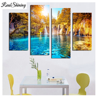 REALSHINING 4Pcs Nature Waterfall Diy Diamond Embroidery Of Rhinestones Almaznaya Mosaic Cross Stitch Diamond Painting FS1170