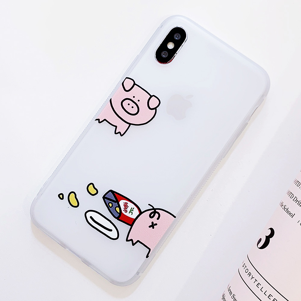 KIPX1100_11_JONSNOW Matte Case For iPhone 7 Plus 8 6 6S 6 Plus X XR XS Max Lovely Pig Baby Pattern Translucent Soft Silicone Cover Cases