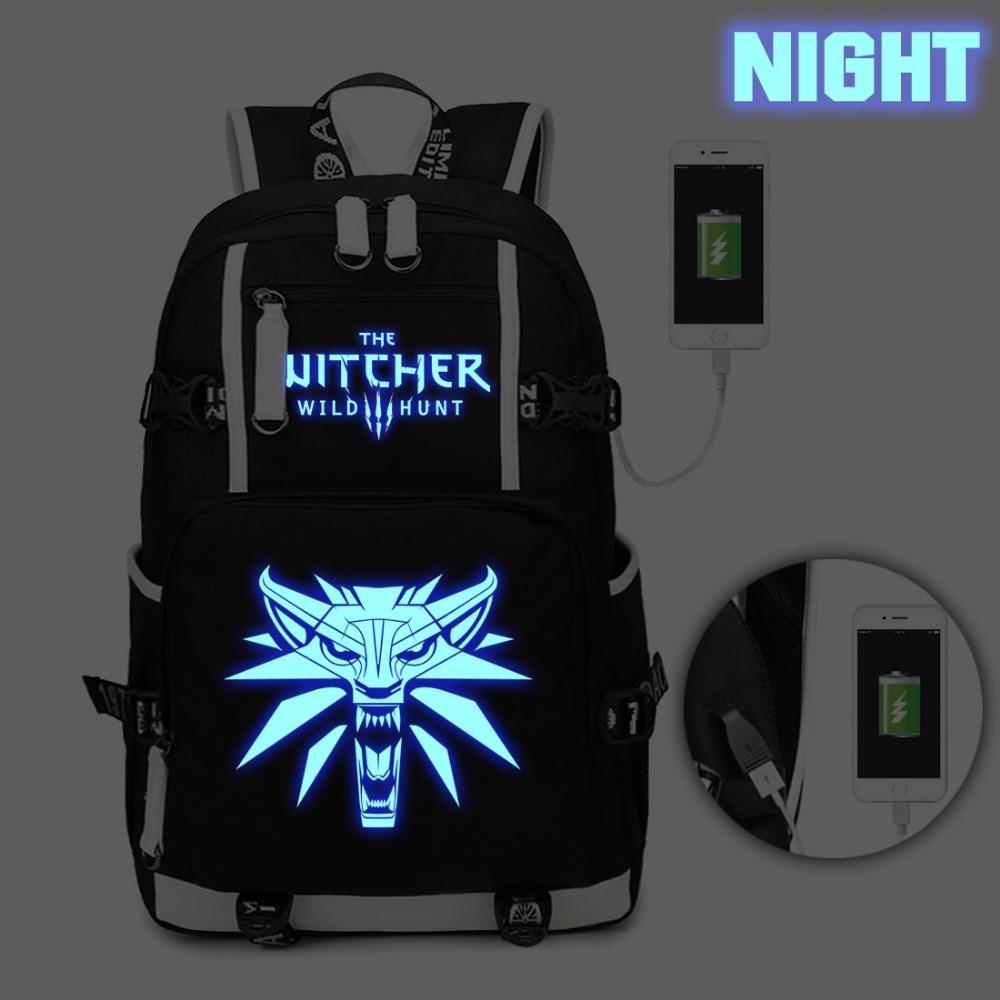 The Witcher 3 Wild Hunt Backpack USB Charge Headphone jack bag laptop Backpack