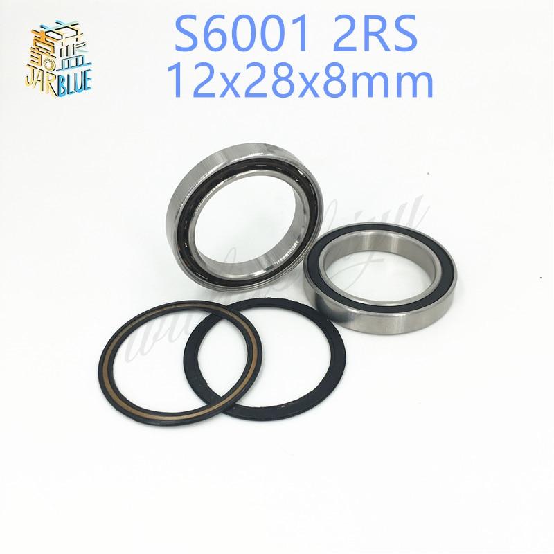 Free shipping 1PCS 6001RS S6001-2RS 12*28*8 12x28x8mm stainless steel hybrid ceramic ball bearing Si3N4 bike hub part S6001 2RS