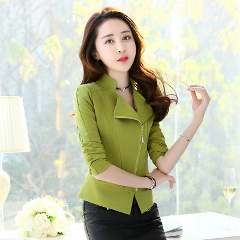 Color Solid New Ladie Autumn Blazer Top green Zipper blue Slim Y1111 Sleeve wine Blazers Black Short Coat Jacket Women 2019 Red Female Long Spring ztq8zwf