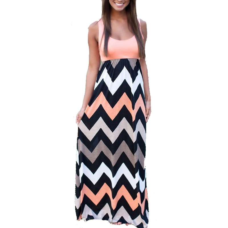 LASPERAL 2017 Women Summer Beach Boho Maxi Dress 2016 High Quality Brand Striped Print Long Dresses Feminine Plus Size