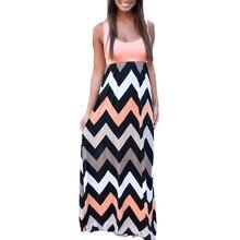 Lasperal playa 2017 mujeres del verano de boho maxi dress 2016 de alta calidad de la marca de rayas imprimir vestidos largos femeninos más el tamaño