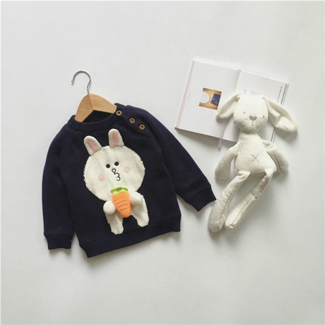 2017 New Kawaii Rabbit Sweater Baby Winter kids pullover Sweaters Toddler Girl Boy Knitted clothes Baby Cotton Outwear chandail