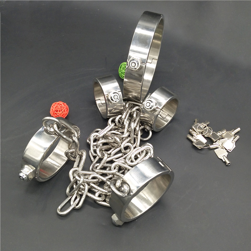 new 1 font crystal flail with lock 2 handcuffs neck collar fetish erotic toys sex bdsm bondage restraints adult sex toys for men Top stainless steel neck collar handcuffs for sex leg irons with new lock bondage restraints collar bdsm fetish wear sex toys