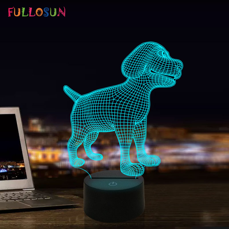 Novelty 3D Illusion Dog Model Desk Night Light Multi-colors LED Moon Lamp Creative Gifts For Dog Lovers