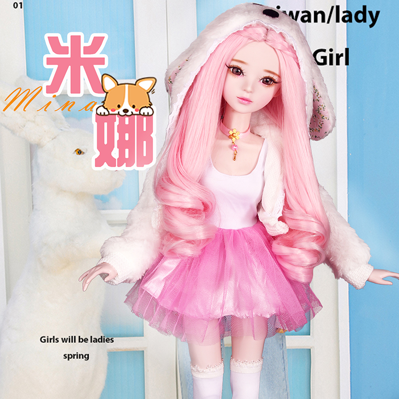 Handmade 1/3 Bjd Dolls Full Set Large 60cm Fashion Pink Girls Princess Articulated Toy Doll Kids Toys for Girls Birthday Gift-in Dolls from Toys & Hobbies    1
