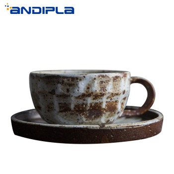 210ml Vintage Japanese Style Coffee Cup Handmade Cappuccino Cup Coarse Pottery Drinkware with Saucer Set Ceramic Coffee Mug Gift