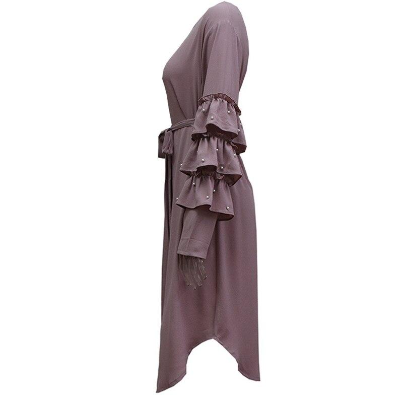 Plus Size 2018 Abaya Dubai Kaftan Women Long Beading Tutu Sleeve Muslim  Hijab Dress Qatar Uae Turkish Islamic Fashion Clothing f0a7e7159f83