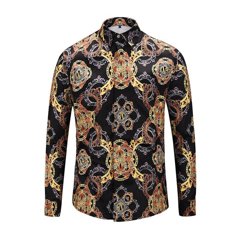 2019 nouveaux hommes chemises à manches longues Design de mode imprimé bouton couvert Camisa Masculina décontracté hawaïen chemises