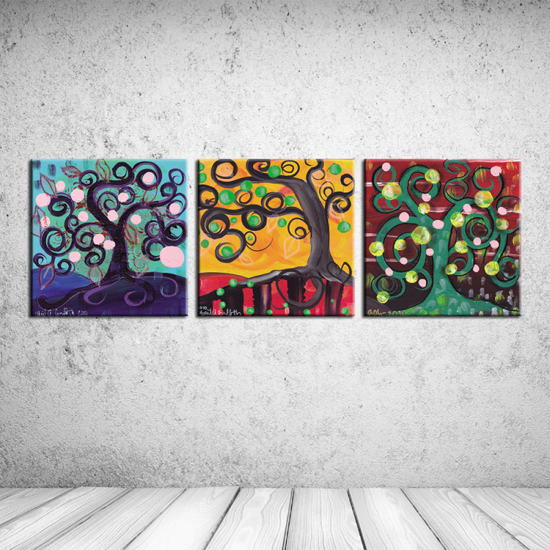 Hot sales Abstract Oil painting about Tree of life print on canvas wall art craft home decor cafe bar for living room RZ-CC101