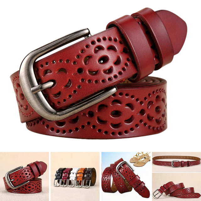 Genuine Leather Belt Floral Carved Cow Skin Belts for Jeans Top Quality Female Straps