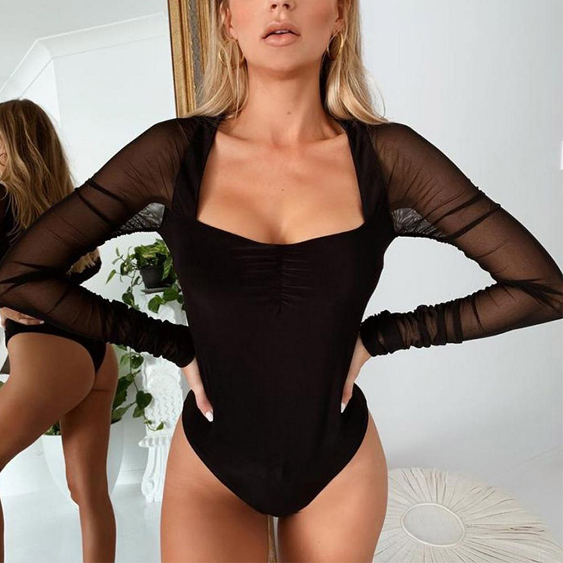 2019 Winter Women Sexy Bodysuit Black Solid Mesh Long Sleeve Party Club Bodysuit Body For Women Short Jumpsuit