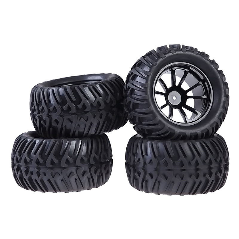 Plastic Wheel Rim and Rubber Tires For HSP 1:10 Monster Truck RC Car 12mm Hub