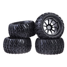 New 4PCS Plastic Wheel Rim and Rubber Tires For HSP 1:10 Monster Truck RC Car 12mm Hub