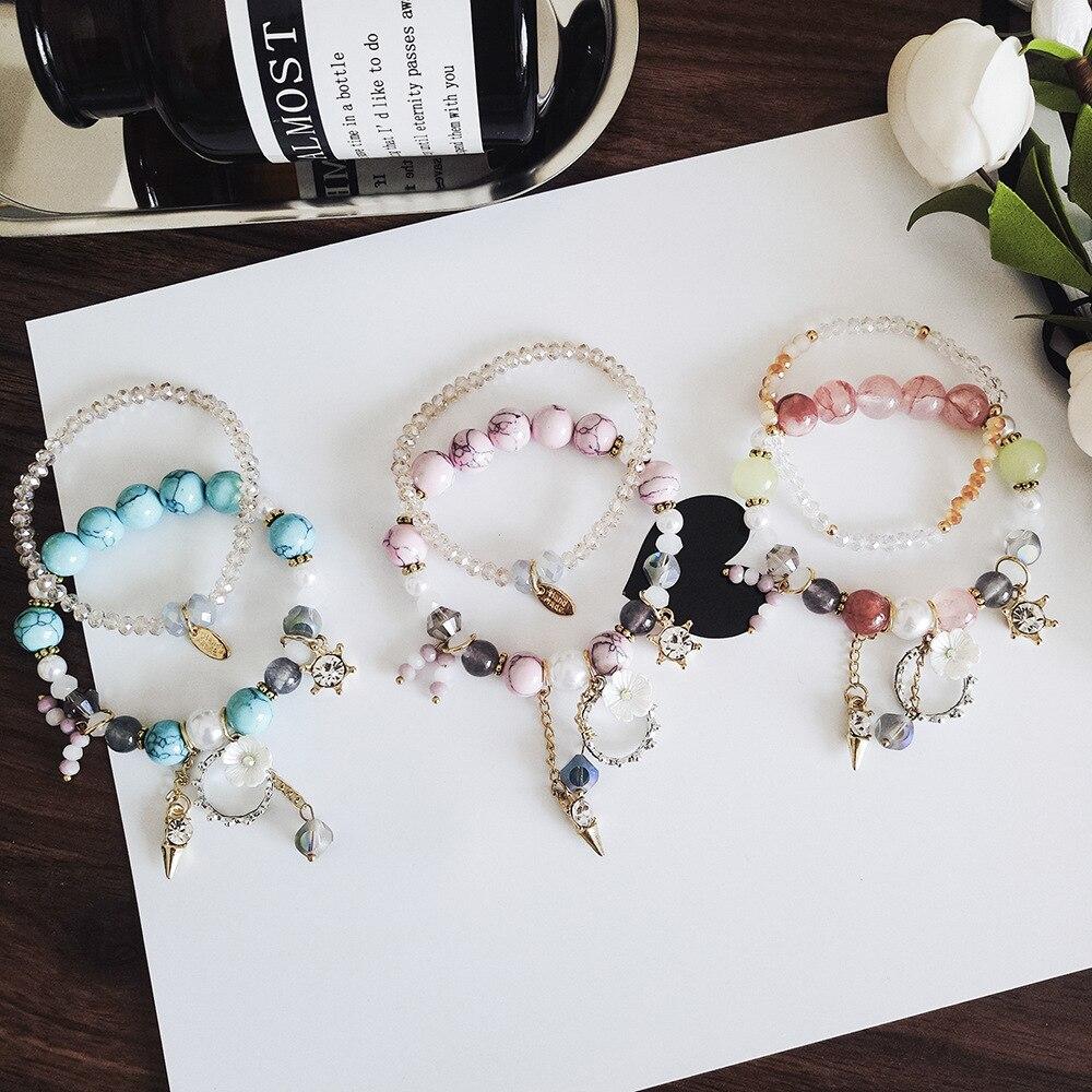 Bohemian Holiday Style Artificial Zircon Tassel Pendant Colorful Beads Double Layer Bracelet Women