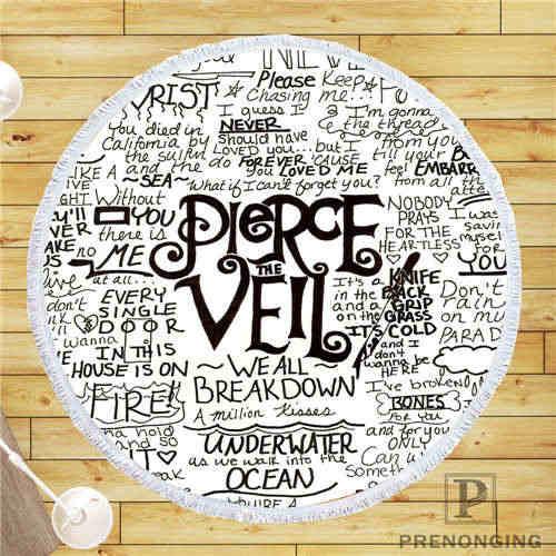 カスタム Diy カスタマイズされたマイクロファイバー生地 pierce_the_veil_logo @ 1 ラウンドビーチブランケットタオルプリントオンデマンド 150 センチメートル #19- 01-28-3-96