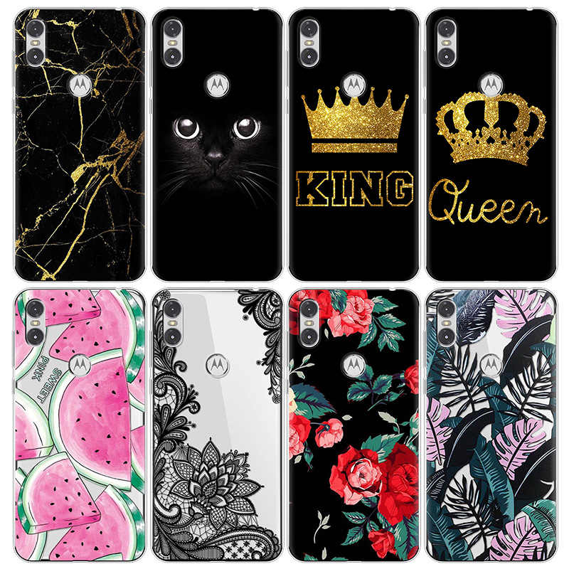 "Flower King Queen Cartoon Cases For Motorola One Case Silicone Soft TPU 6.2"" Painted Cover Coque Transparent Back luxury Bags"
