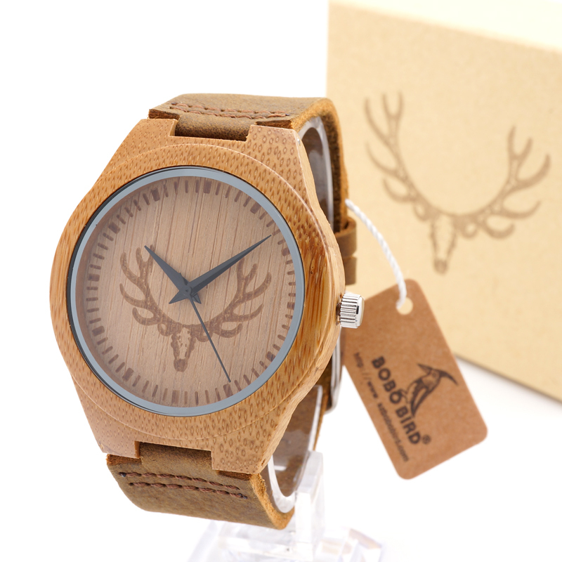 BOBO BIRD M08 100% Handmade Mens Solid Bamboo Wood Quartz Watch Deer Icon For Gift new 100% handmade head deer elk dial design mens bamboo wood quartz watch with real leather strap for gift relogio masculino