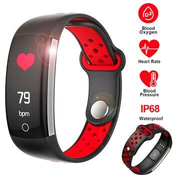 SCELTECH Q6 Heart Rate Monitor de Fitness Pulseira Pulseira Inteligente Pressão Arterial/Oxigênio Inteligente Pulseira Banda IP68 Relógio À Prova D' Água