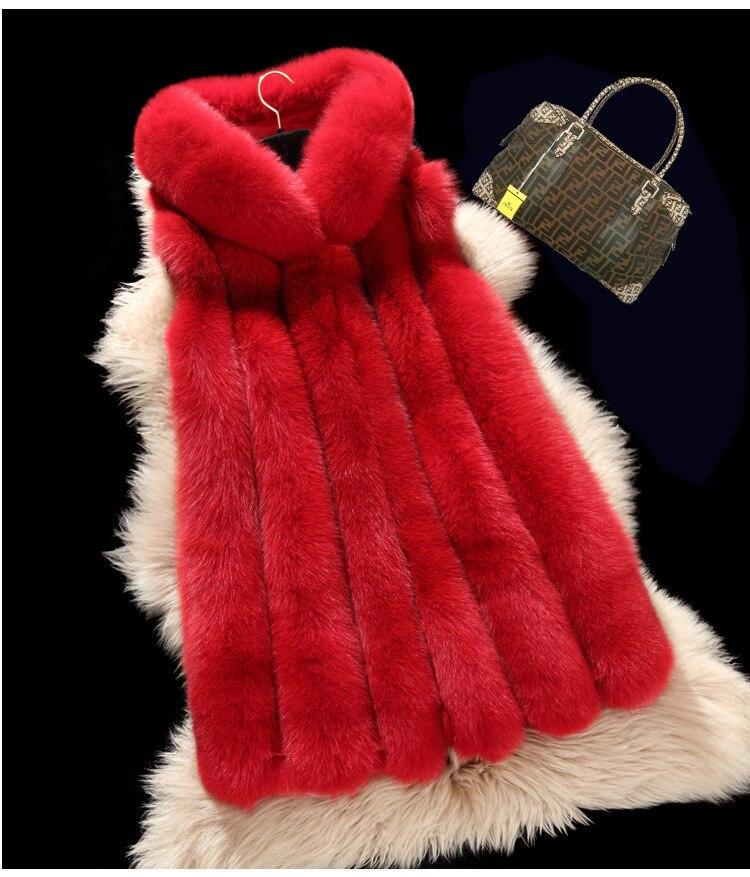 Poches 2016 darkgrey Veste Fourrure Caché silvery De Luxe Renard Peel Chaud Lightgrey Femmes Hiver Faux red Manteau Femme Gilet Shitsuke Gilets Mode ZrZqTw