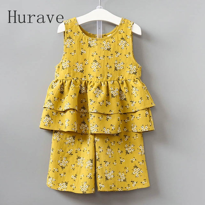 Hurave 2017 New Baby Summer Casual Style Kids Clothes Floral Print Sleeveless Clothing Sets Kids Shirt