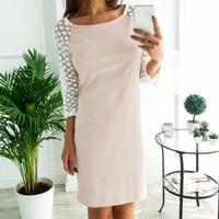 Lace Mini Dresses Spring Fashion Women Dress Long Sleeve O Neck Hollow Out Kawaii Girls Dress