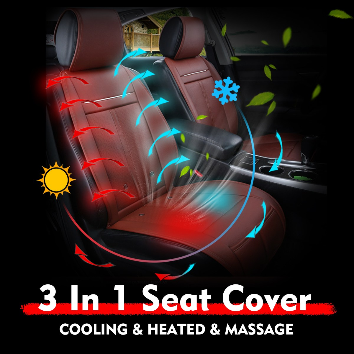 3 In 1 Car Auto Seat Cushion Pads Cooling + Heated + Massage Chair Seat Cover Cushion Universal DC 12V Electric Heated Seat Pads