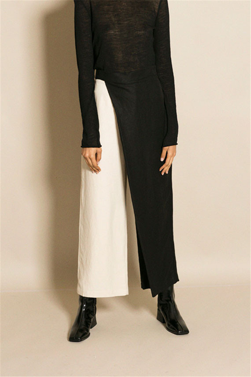 AEL Black and White Splicing Broad   Leg     Pants   Women Hight Waist Asymmetric Trousers 2018 New Spring Female Clothing