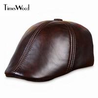 TIMESWOOD Genuine Cowskin Leather Painter Berets Caps For Men Women Brown Black Mens Woman Winter