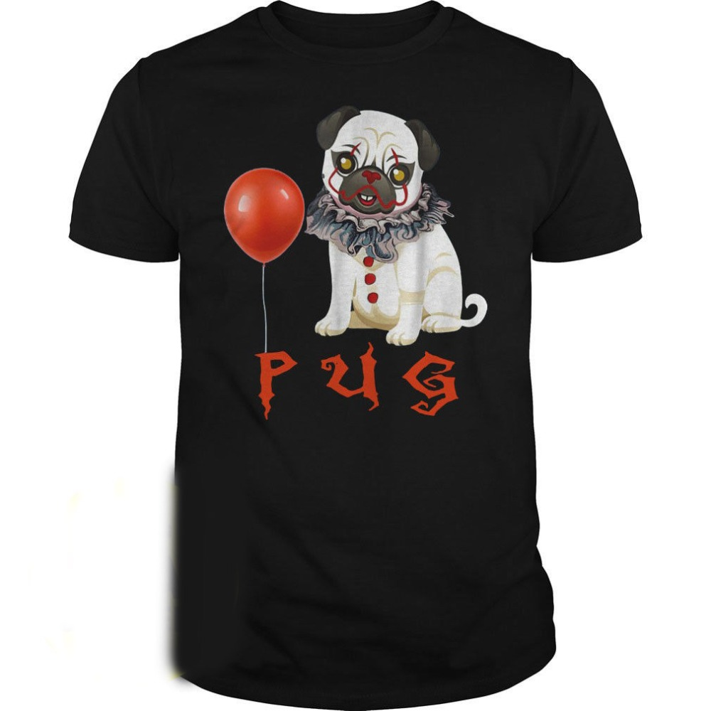 It Pug Funny Horror Halloween Dog with Clown Face Cotton 2019 Summer O Neck Men'S Brand Clothing Cotton Make T Shirts