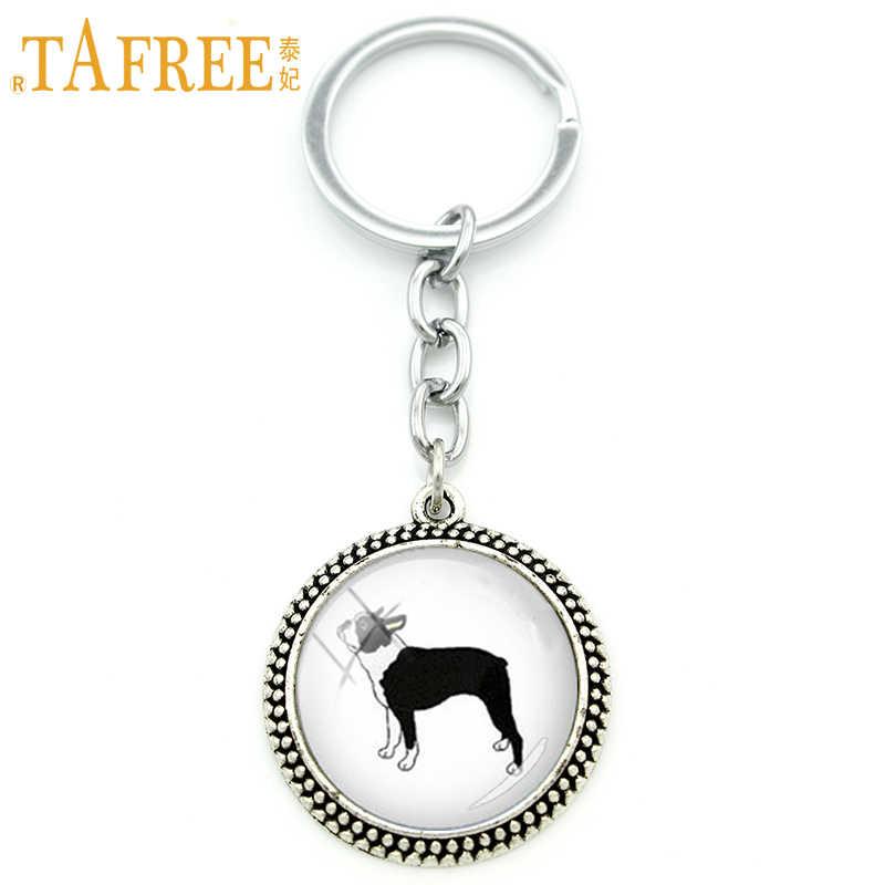 Perfil TAFREE jóias animal Bonito chaveiro Cão Boston terrier animais arte pingente chaveiro anel presente do dia das crianças KC309