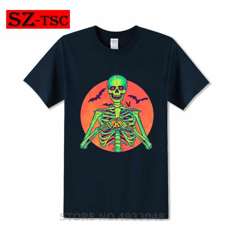 2019 แฟชั่น I Love ฟักทองฮาโลวีนหัวใจโครงกระดูกสนู๊ปปี้ vintage แจ็ค o โคมไฟค้างคาวผู้ชายตลกเสื้อ t ชายหญิงชาย tshirt