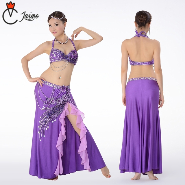9ac991351fcd 2pcs Suit Professional Egyptian Belly Dance Costume Set Top Bra C/D Cup  Wrapped Skirt Long Bellydance Costumes Performance