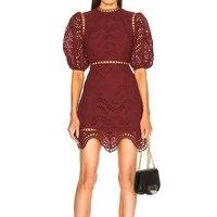 Women Wine Red Short Dress