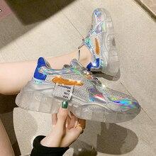 Прозрачные женские кроссовки на прозрачном каблуке с серебряными кристаллами; коллекция 2019 года; модная повседневная обувь на высокой платформе со шнуровкой; женская обувь; zapatos YH-46