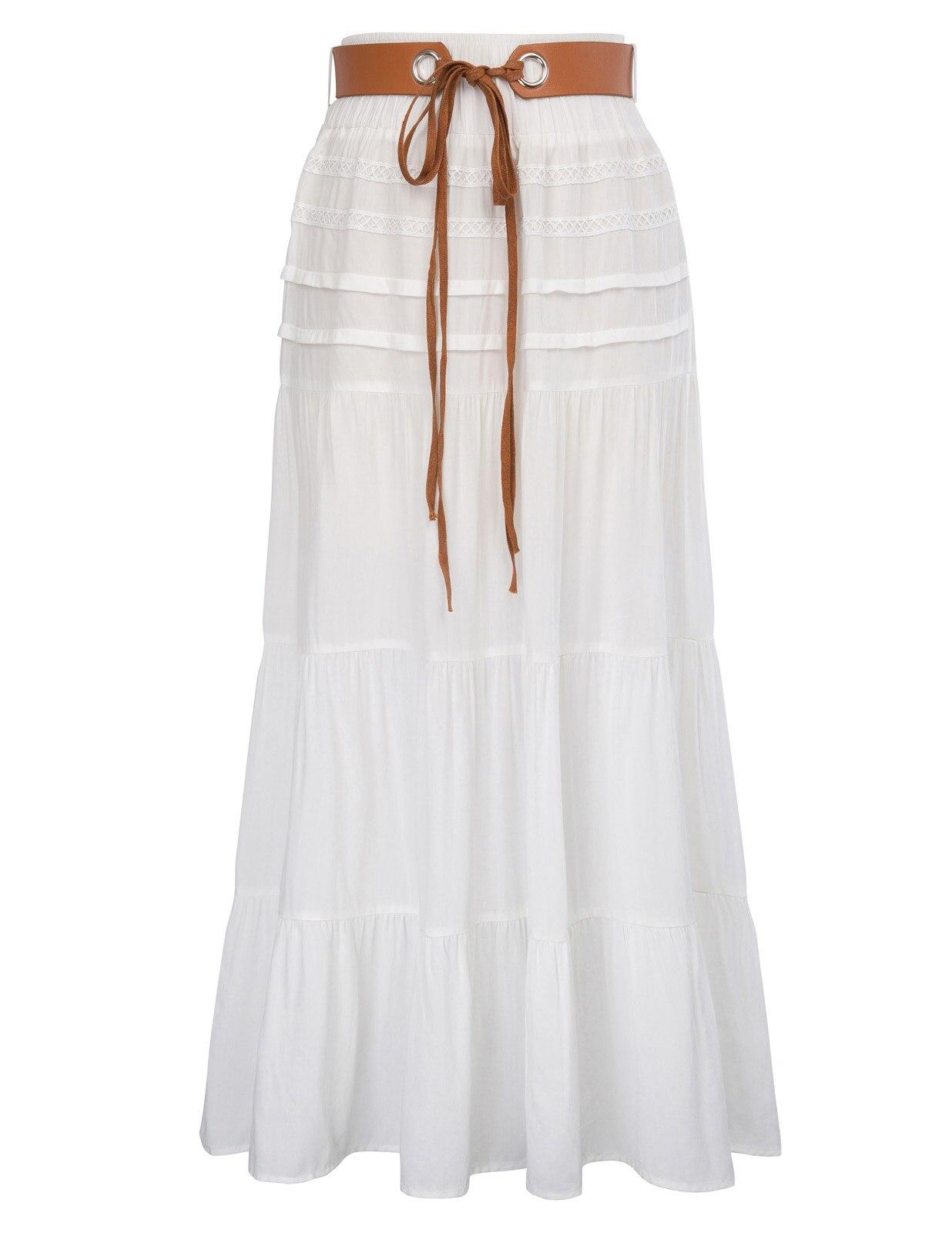 Retro Vintage Women skirt Comfy Elastic Waist Rayon Flared A-Line Skirt With Belt