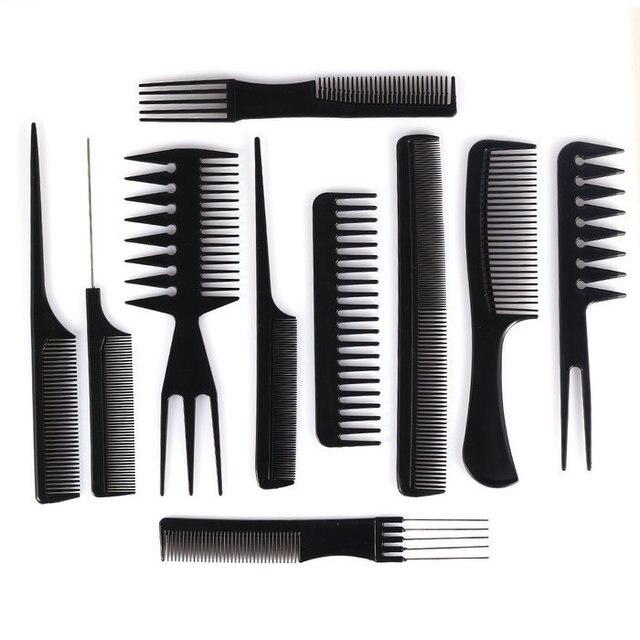 10pcs Professional Salon Hair Styling Tools Hairdresser Barber Combs Set Plastic Barbers Brush Anti Static