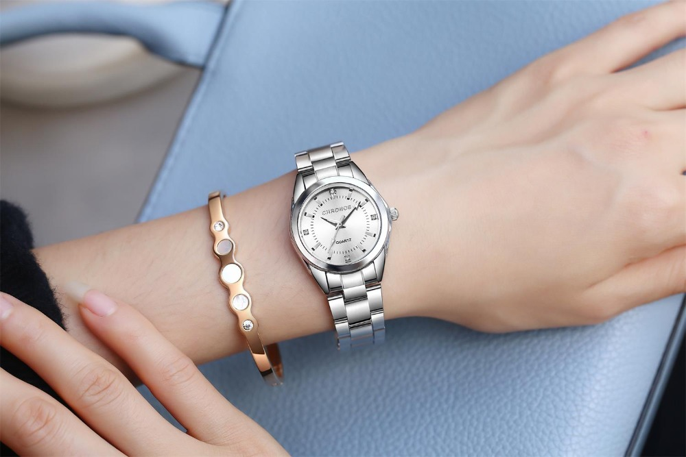 CHRONOS Women Stainless Steel Rhinestone Watch Silver Bracelet Quartz Waterproof Lady Business Analog Watches Pink Blue Dial 3