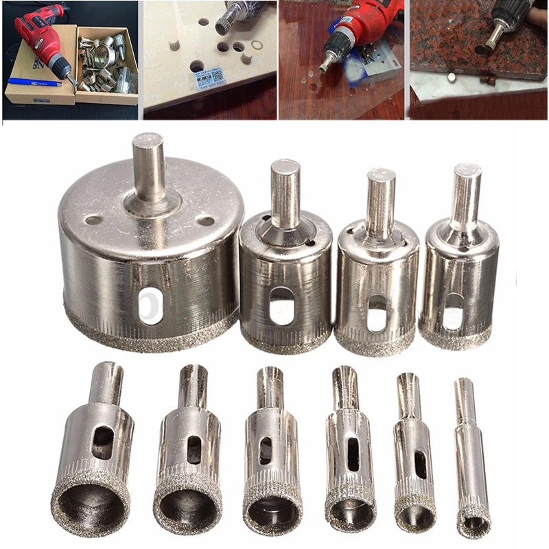 High Quality 10pcs Diamond Coated Hole Saw Drill Bit Set Cutter 8-50mm For Tile Ceramic Marble Glass new 50mm concrete cement wall hole saw set with drill bit 200mm rod wrench for power tool