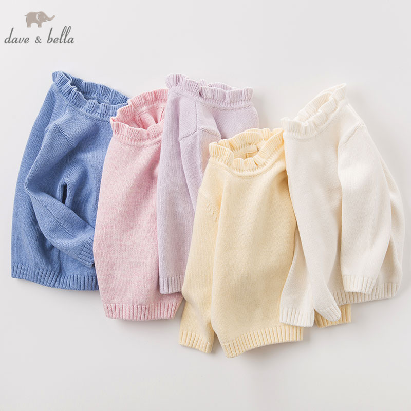 DB6482 dave bella autumn infant baby girls wool pullover tops kids lolita clothes children toddler knitted SweaterDB6482 dave bella autumn infant baby girls wool pullover tops kids lolita clothes children toddler knitted Sweater