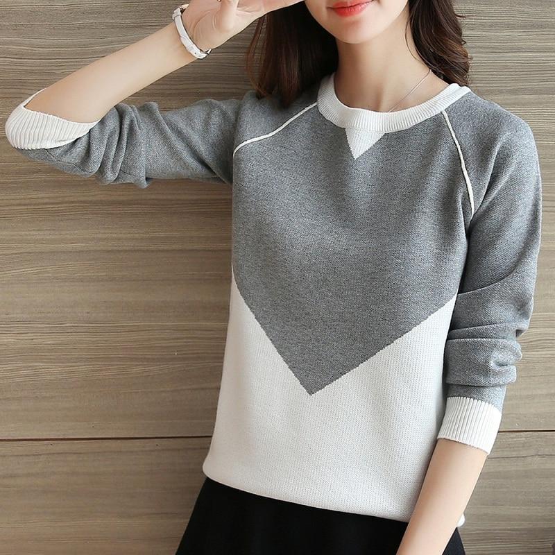 2018 versión coreana del nuevo suéter de manga suelta suéter de punto suéter de manga larga para estudiantes chaqueta ajustada suéter para mujer