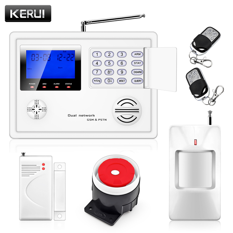 KERUI IOS/Android APP Remote Control 99 Wireless 4 Wired Zone GSM PSTN Home Protection Security Burglar Voice Alarm System kerui wireless wired gsm voice burglar home house security alarm app control tft touch panel wireless smoke detector pir sensor